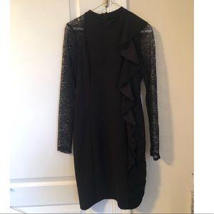 Bebe black long sleeve midi dress
